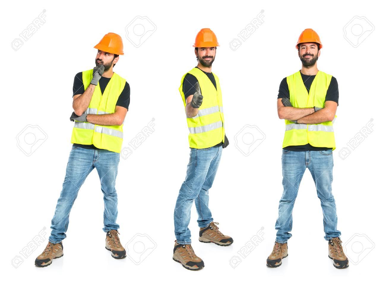 Workman thinking over isolated white background - 35219136