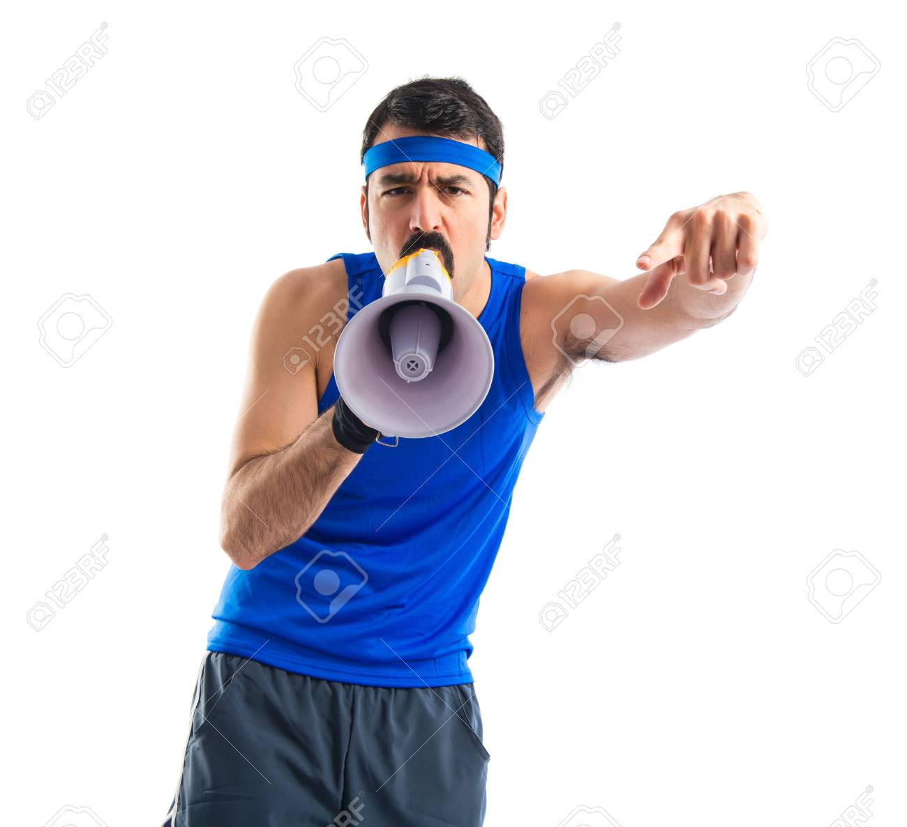 Sportman shouting by megaphone - 36559838