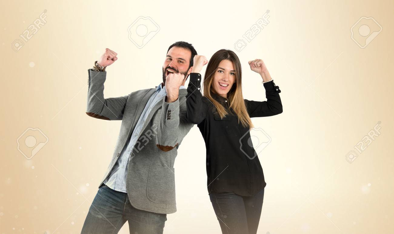 Couple winner over white background Stock Photo - 39309707