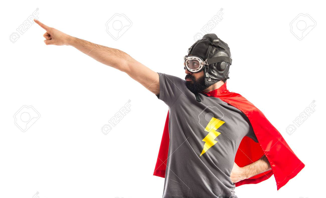 Super hero pointing to the lateral Stock Photo - 40412229