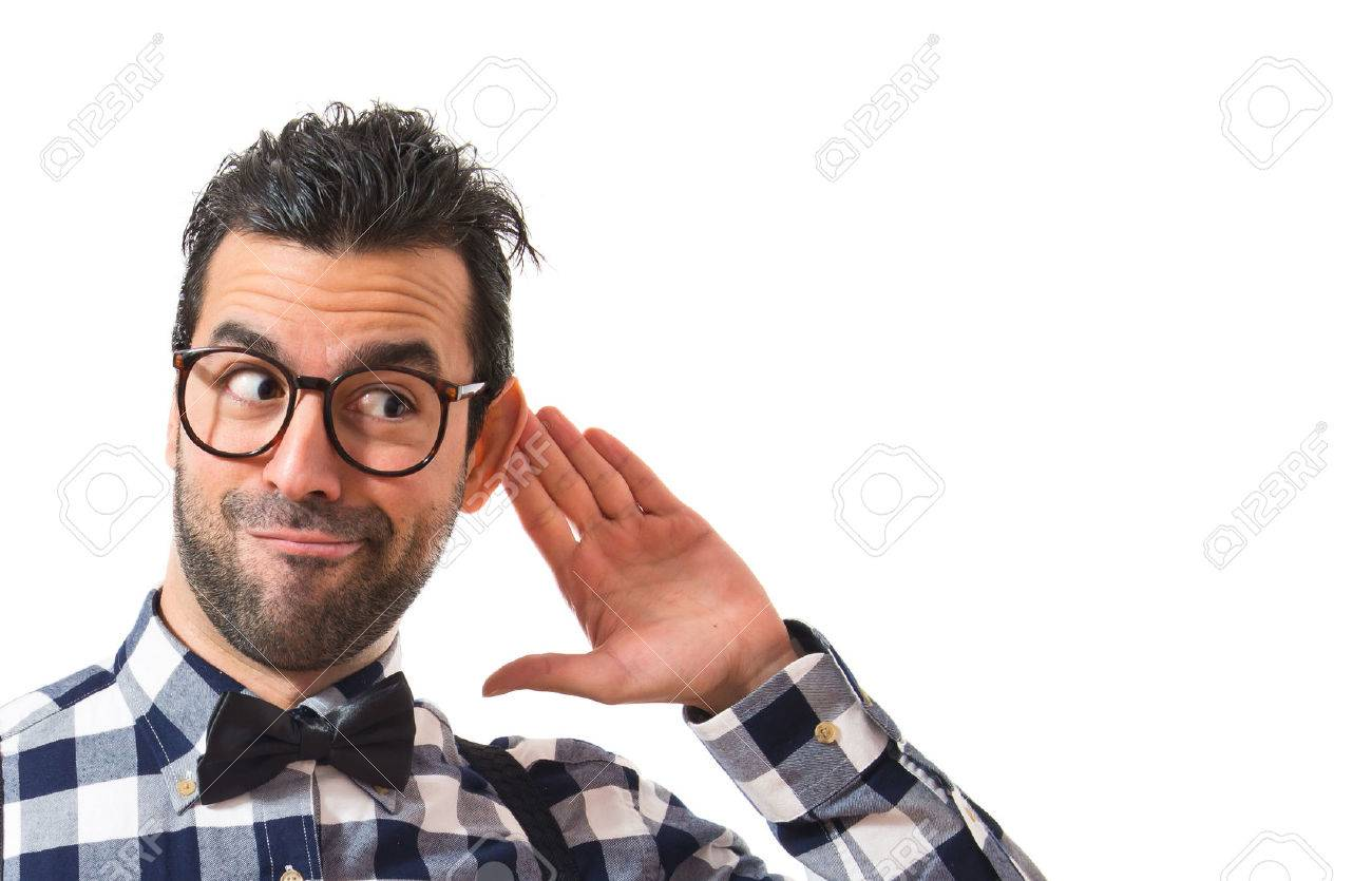 Posh boy listening something Stock Photo - 40891904