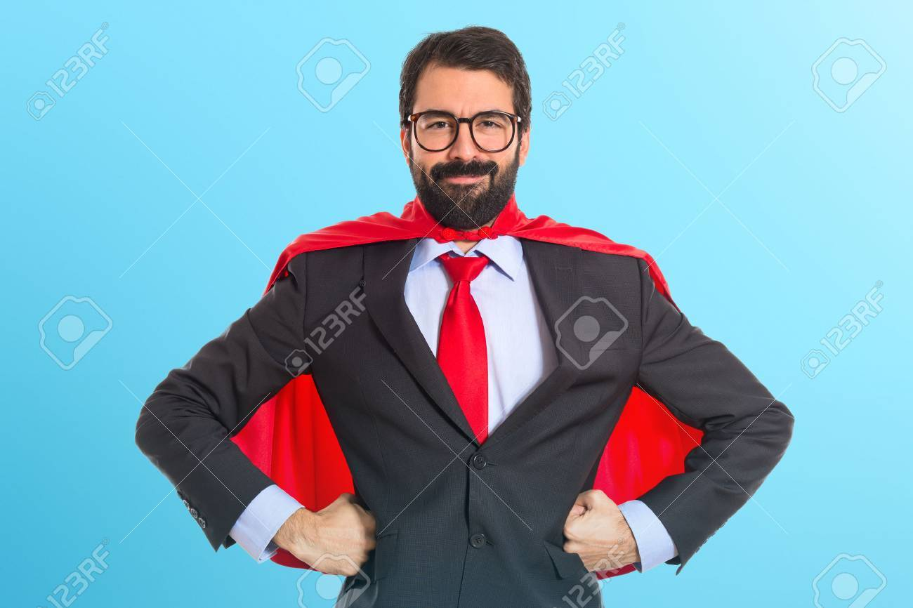Businessman dressed like superhero Stock Photo - 40989417