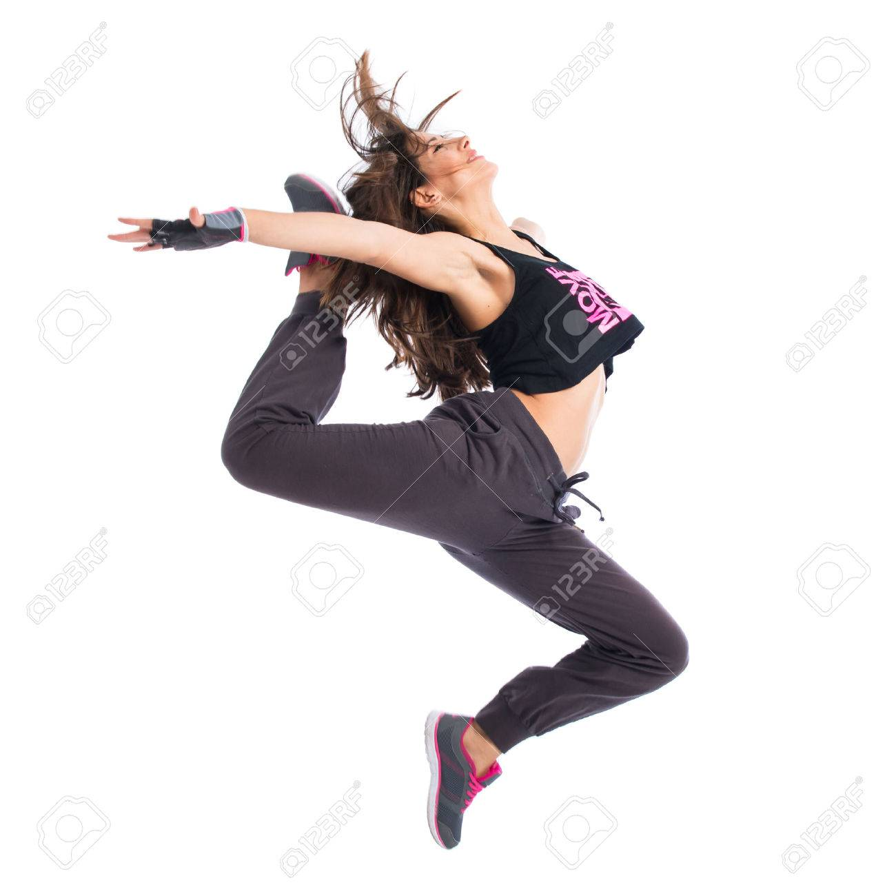 Teenager girl jumping in hip hop style Stock Photo - 41206168