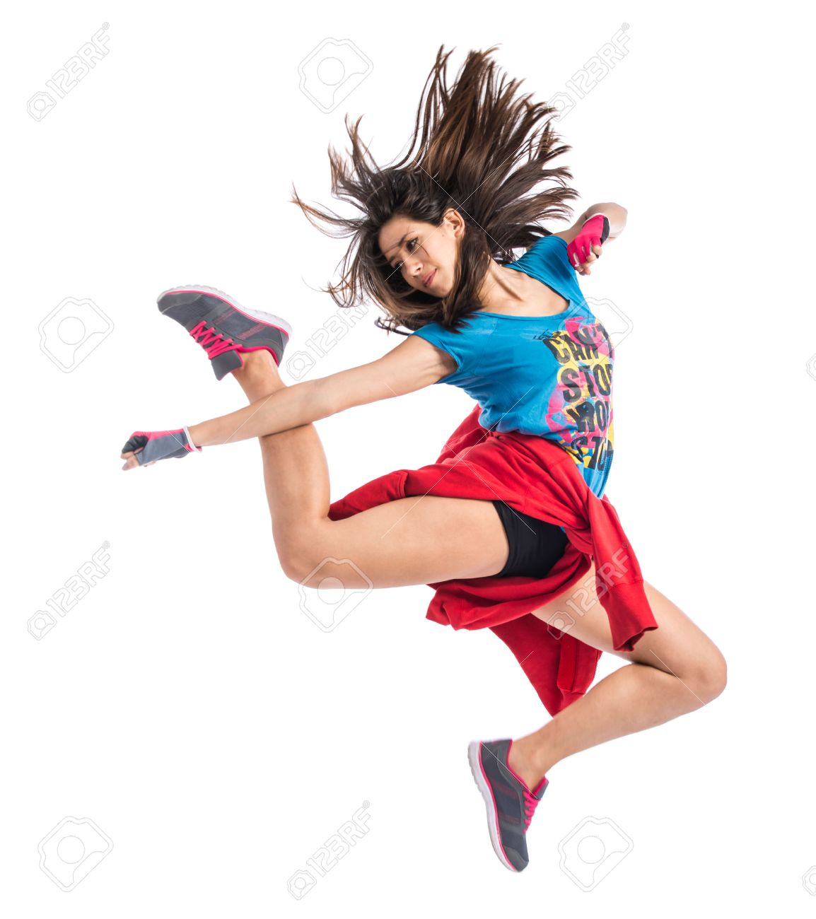 Teenager girl jumping in street dance style Stock Photo - 41206358