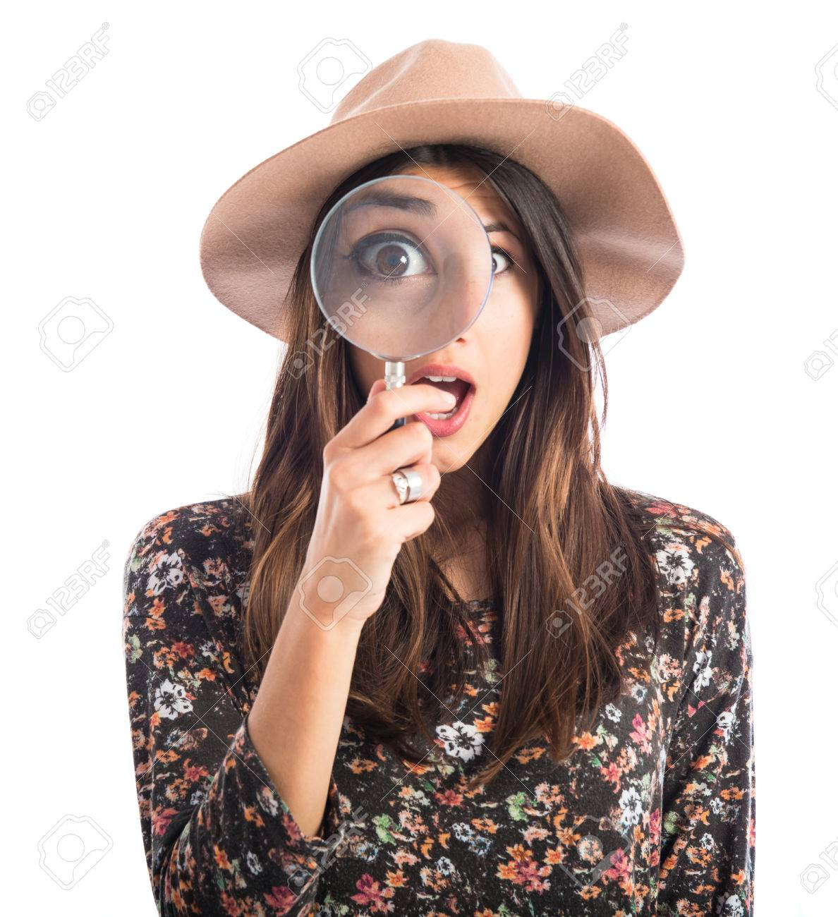 Surprised woman with magnifying glass Stock Photo - 41206427