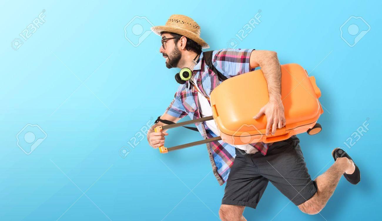 Tourist running fast Stock Photo - 41310279