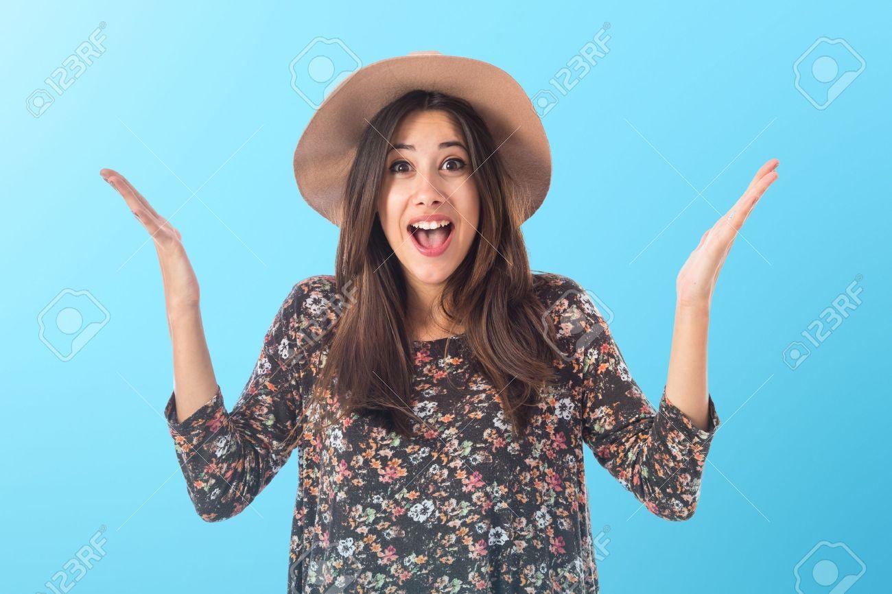 Happy woman doing surprise gesture Stock Photo - 43293684