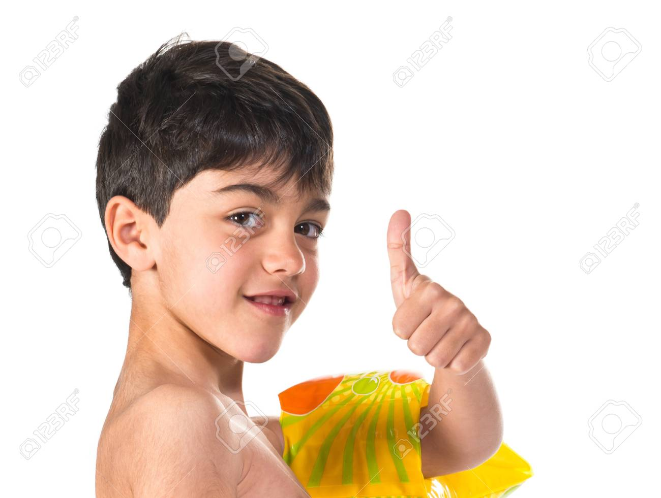 25586f2415 Boy In Swimsuit Making Ok Gesture Stock Photo, Picture And Royalty ...