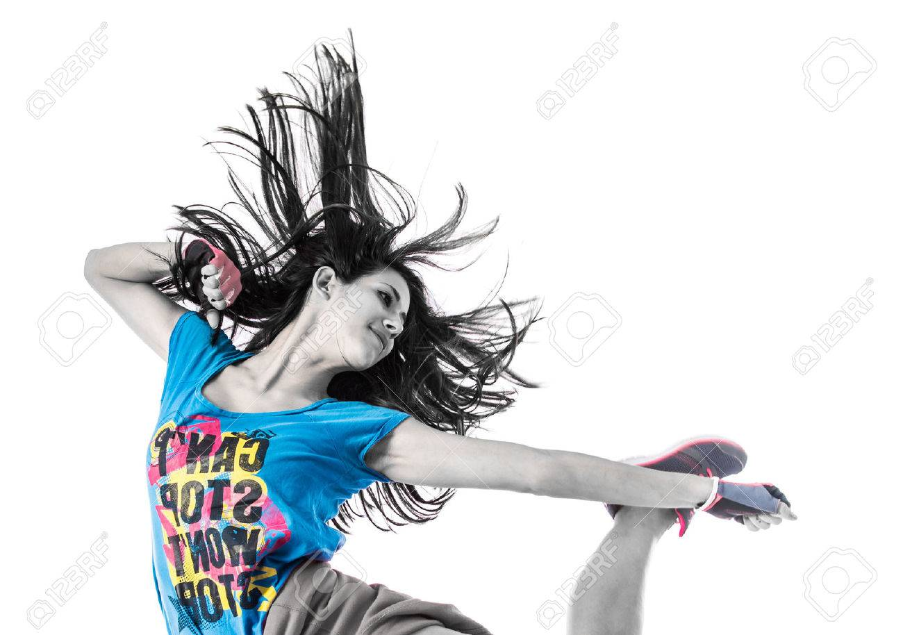 Teenager girl jumping in street dance style Stock Photo - 45740896