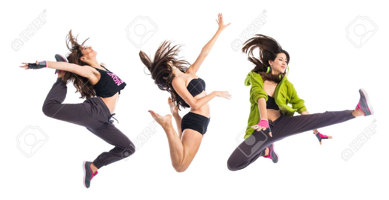 Teenager girl jumping in hip hop style Stock Photo - 46485873