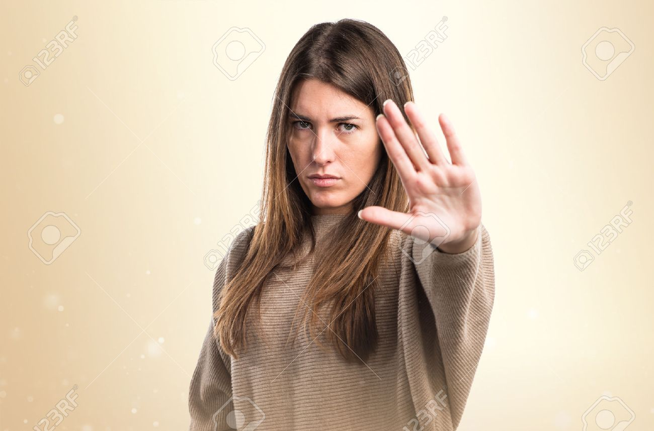 Girl making stop sign Stock Photo - 48704463