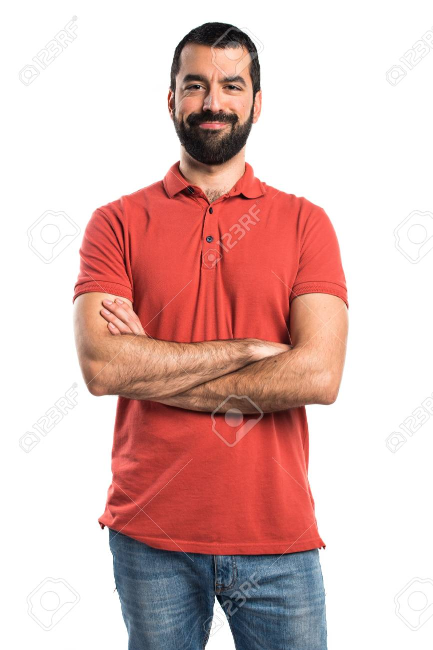 Man wearing red polo shirt with his arms crossed - 51769307