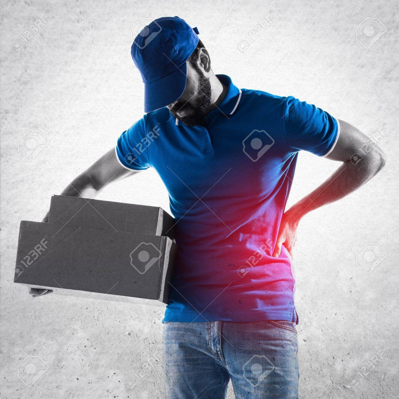 Delivery man with back pain Stock Photo - 55444457