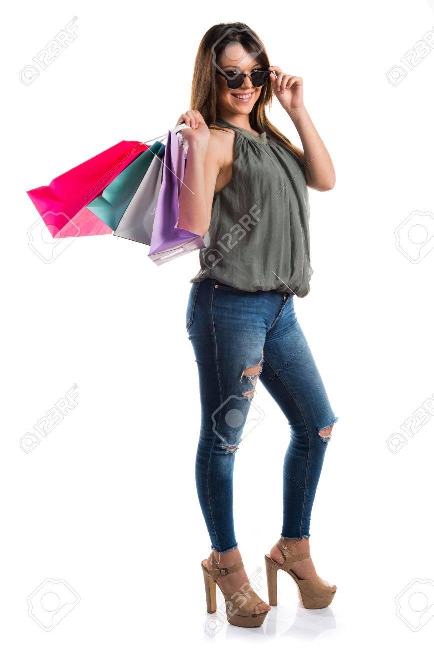 Con Mujer Compra Muchas Fotos De Bolsas Imágenes Retratos Y La Aqg4PdqnR