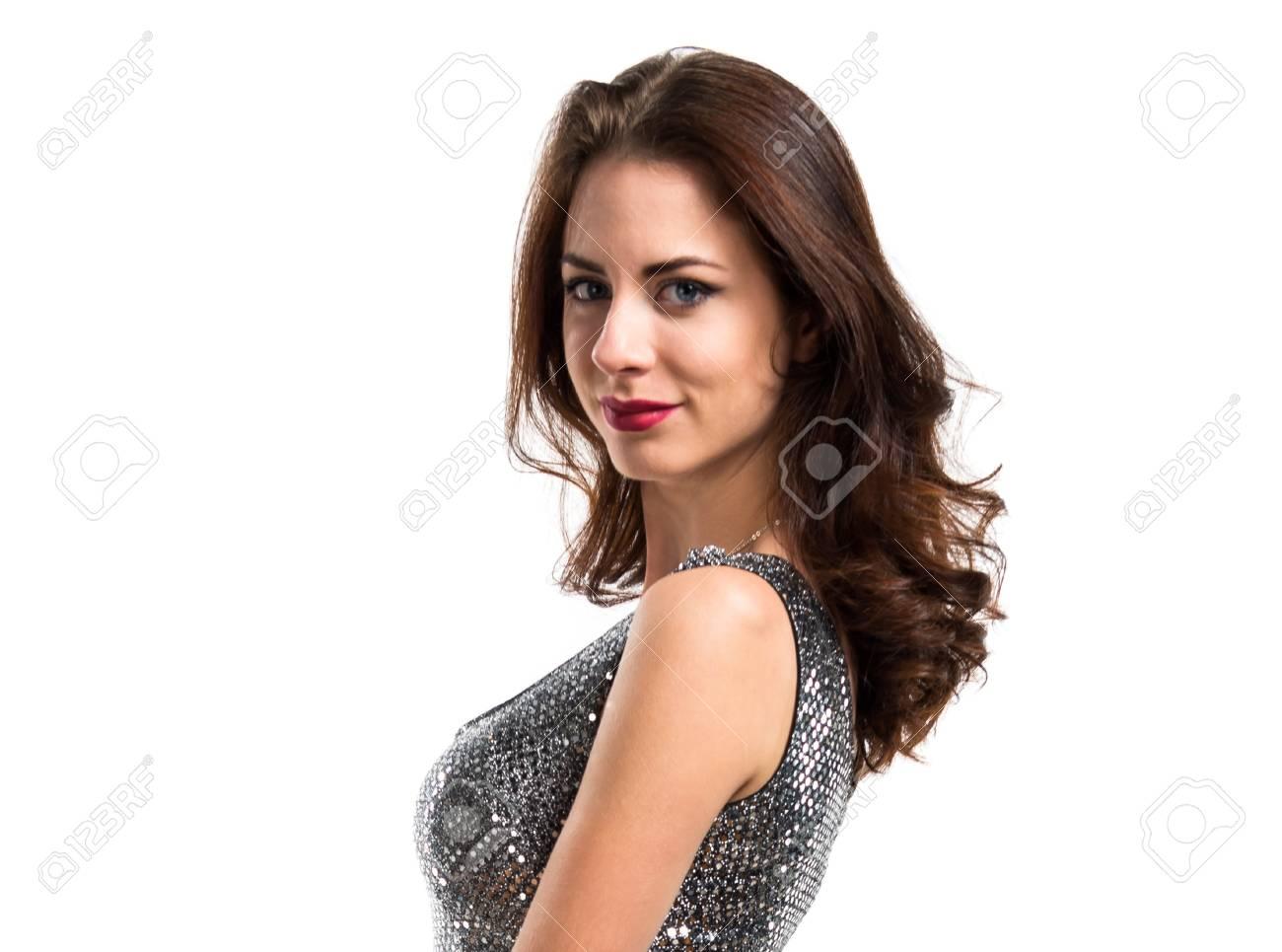 Schöne Frau In Einem Partykleid Lizenzfreie Fotos, Bilder Und Stock ...