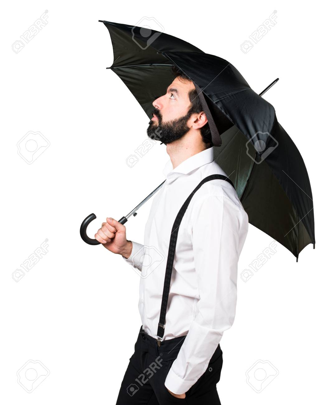 hipster man with beard holding an umbrella stock photo picture and