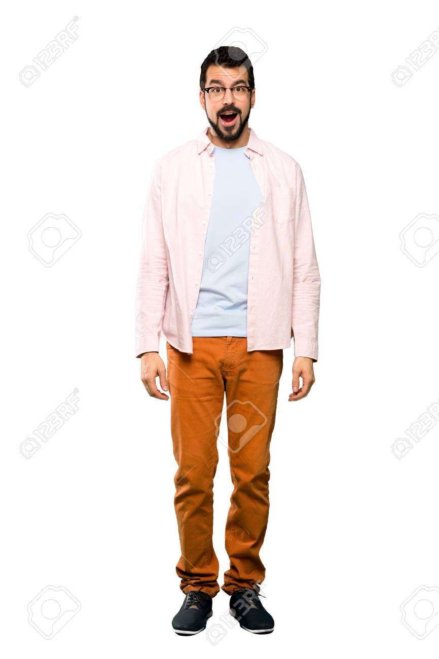 Full-length shot of Handsome man with beard with surprise facial expression over isolated white background - 120189338