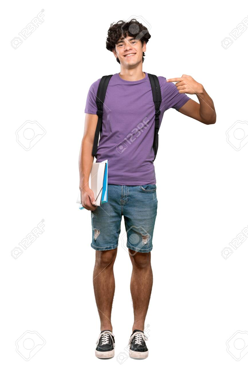 A full-length shot of a Young student man proud and self-satisfied over isolated white background - 137594378
