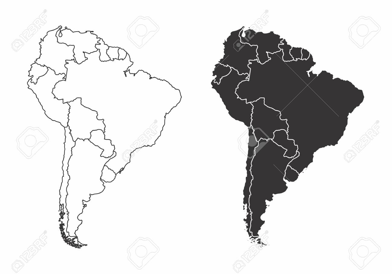 Simplified Maps Of The South America With Countries Boundaries
