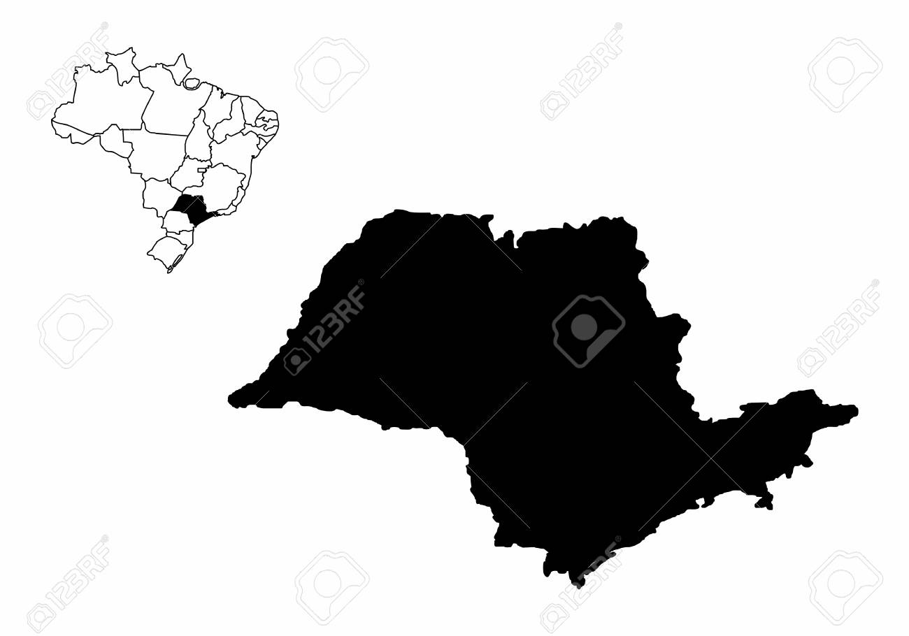 Silhouette Of The Sao Paulo State And Its Location In Brazil Map ...