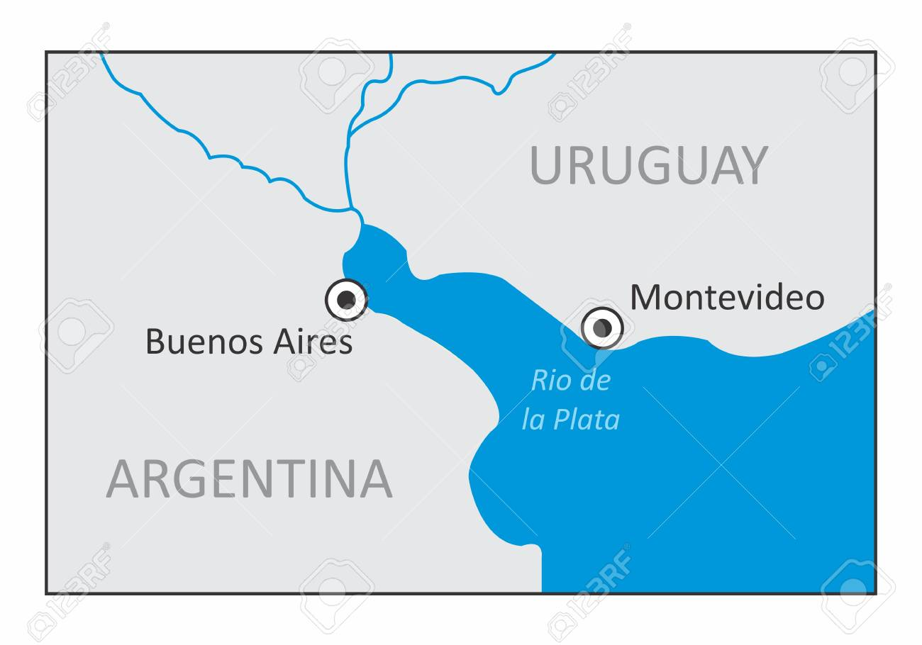 A map of the region of Rio de la Plata, between Argentina and..