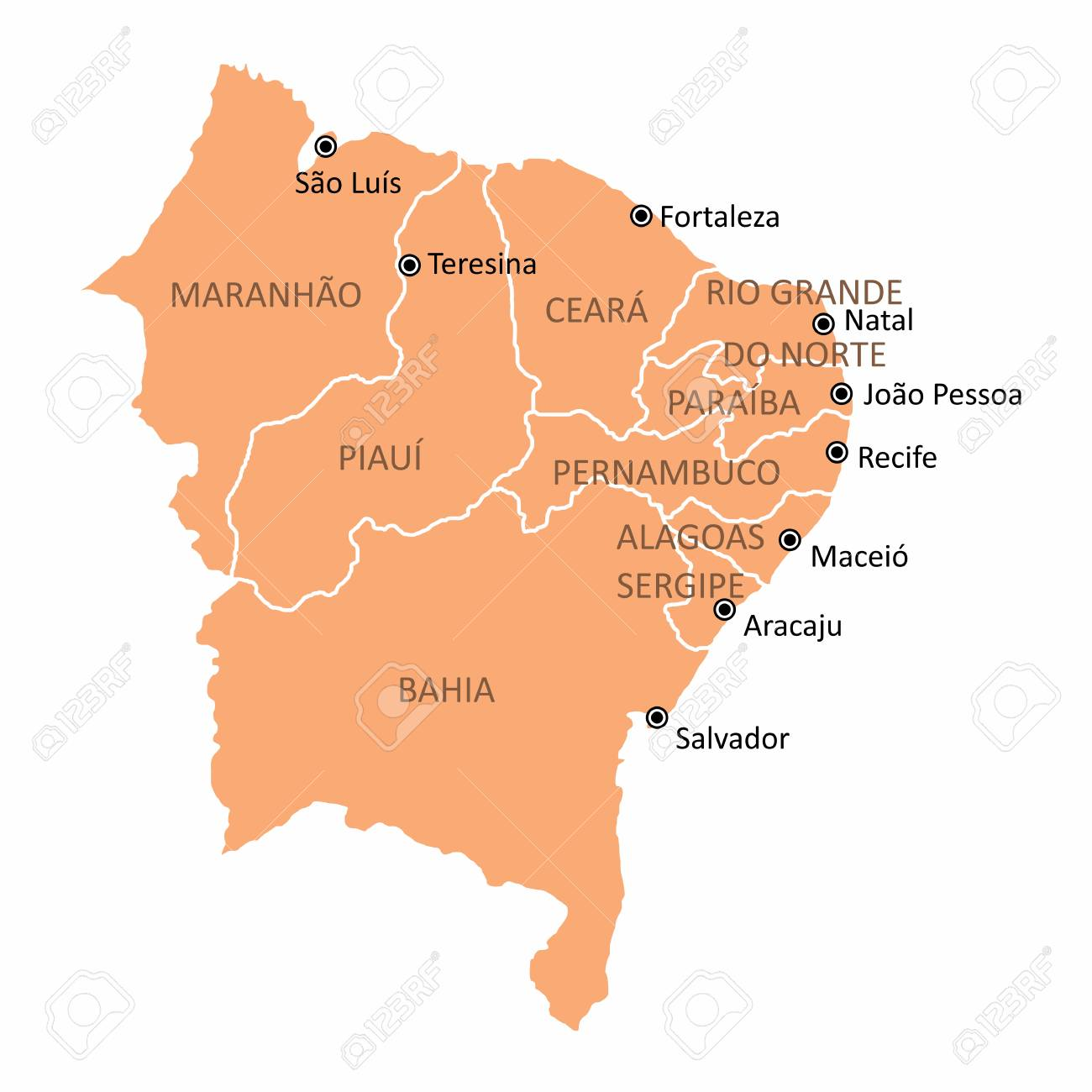 Brazil northeast region map
