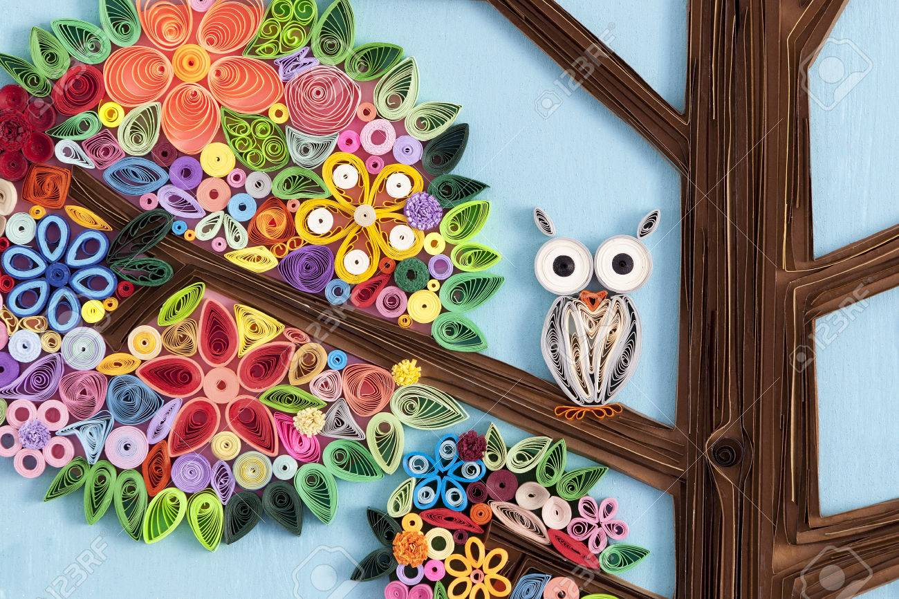 owl on a branch of a quilling art tree stock photo picture and rh 123rf com