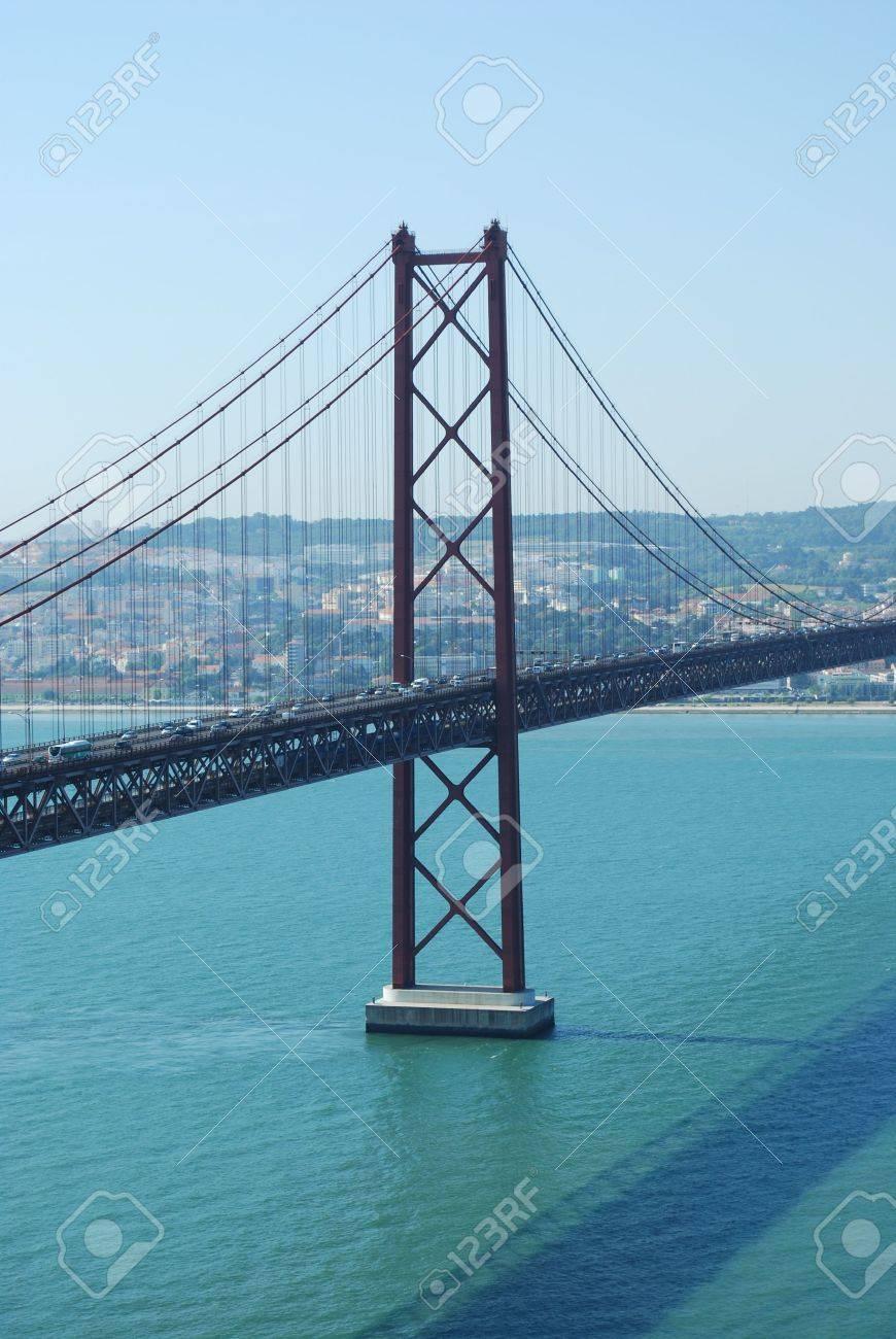famous bridge Abril 25th and old Salazar Bridge in Lisbon, Portugal Stock Photo - 4852694