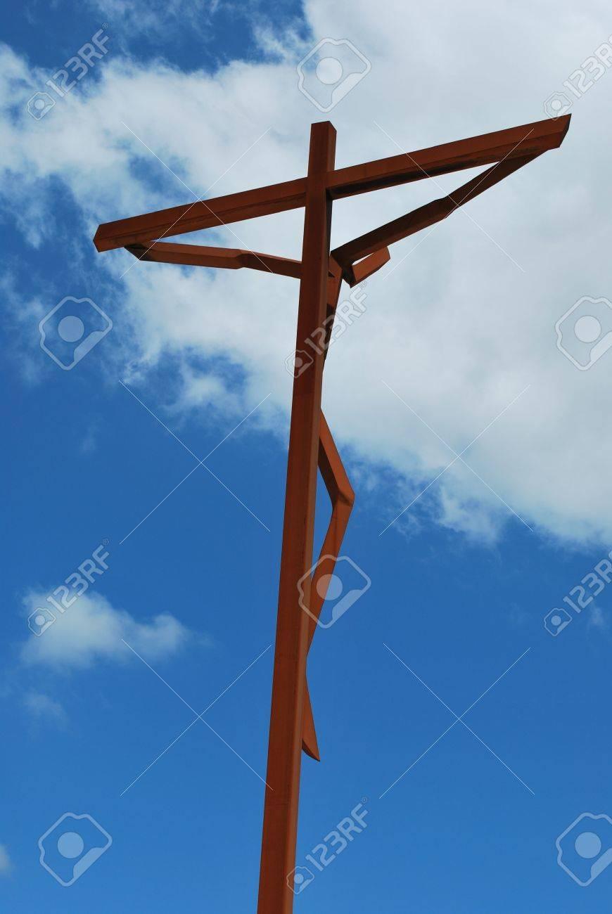 crucifixion of jesus on a modern cross in fatima stock photo