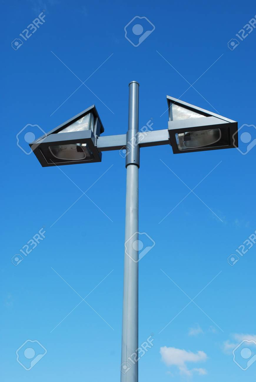 grey metal lamp on a urban park Stock Photo - 4902873