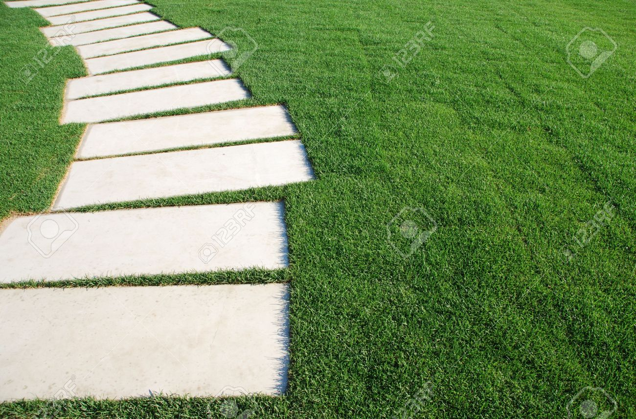 concept of success, challenge and destination (stones on a lawn park regarding phases and goals) Stock Photo - 5872315