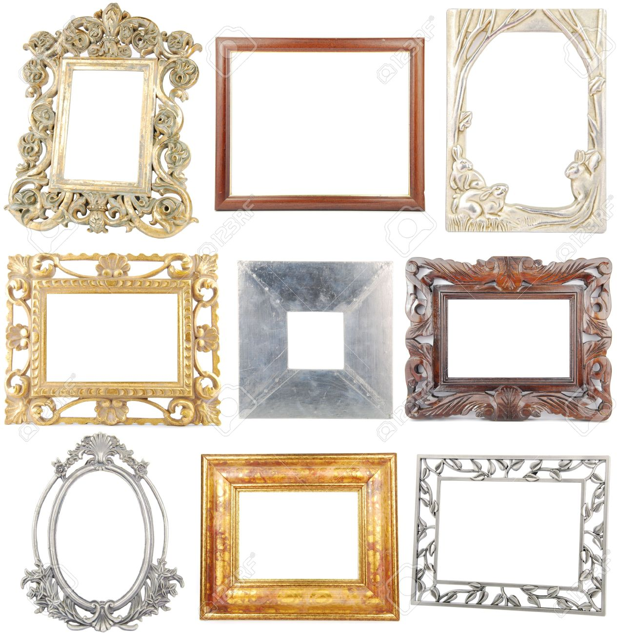 9 Different Wooden/metallic Frames Isolated On White Background ...