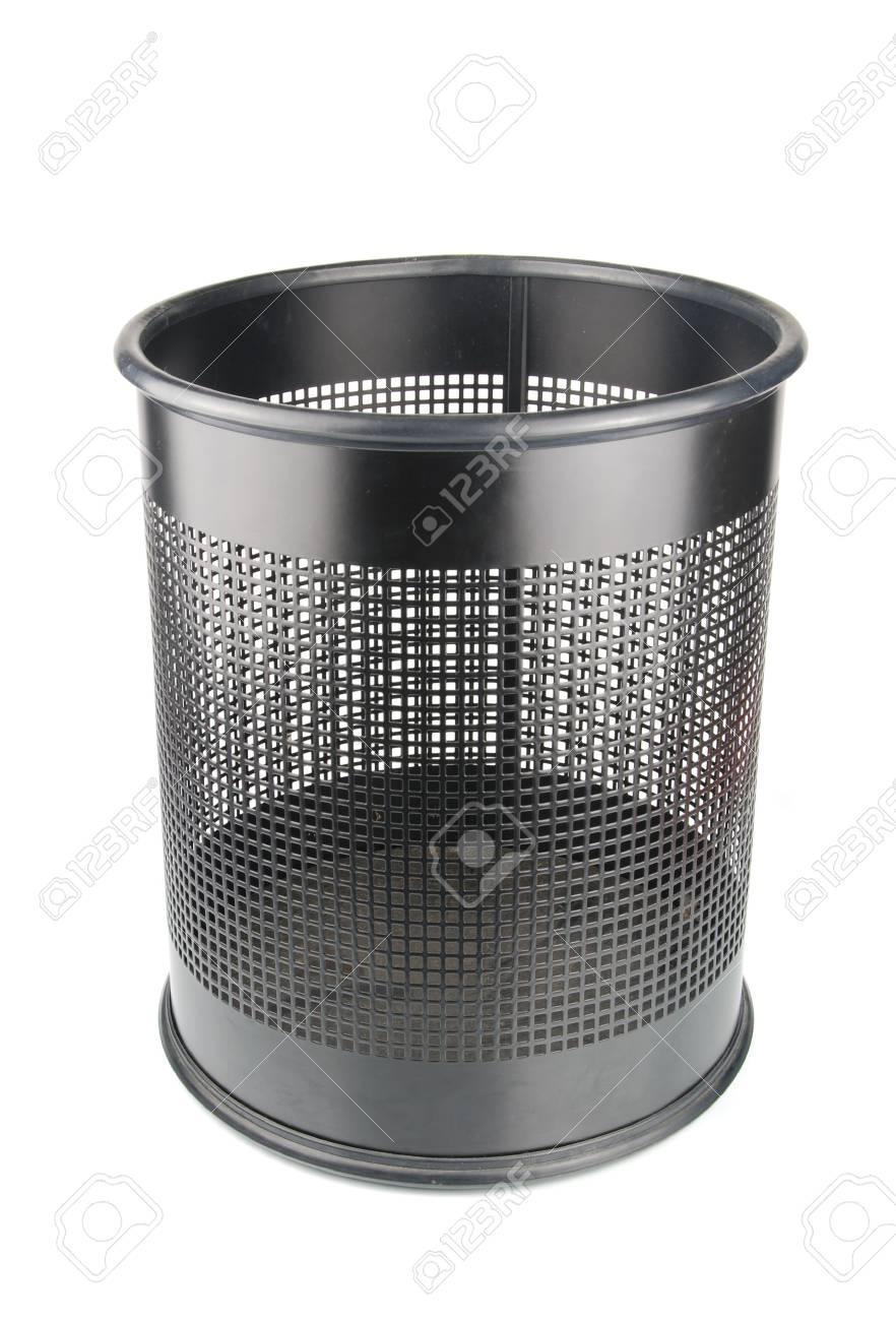 empty black wastepaper basket isolated on white background Stock Photo - 6663569