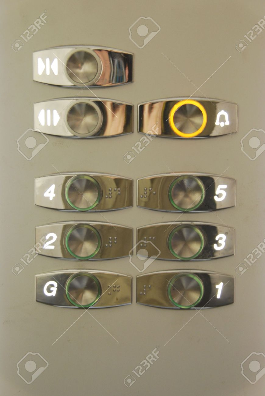 stainless steel elevator push buttons on a residential building Stock Photo - 6914123