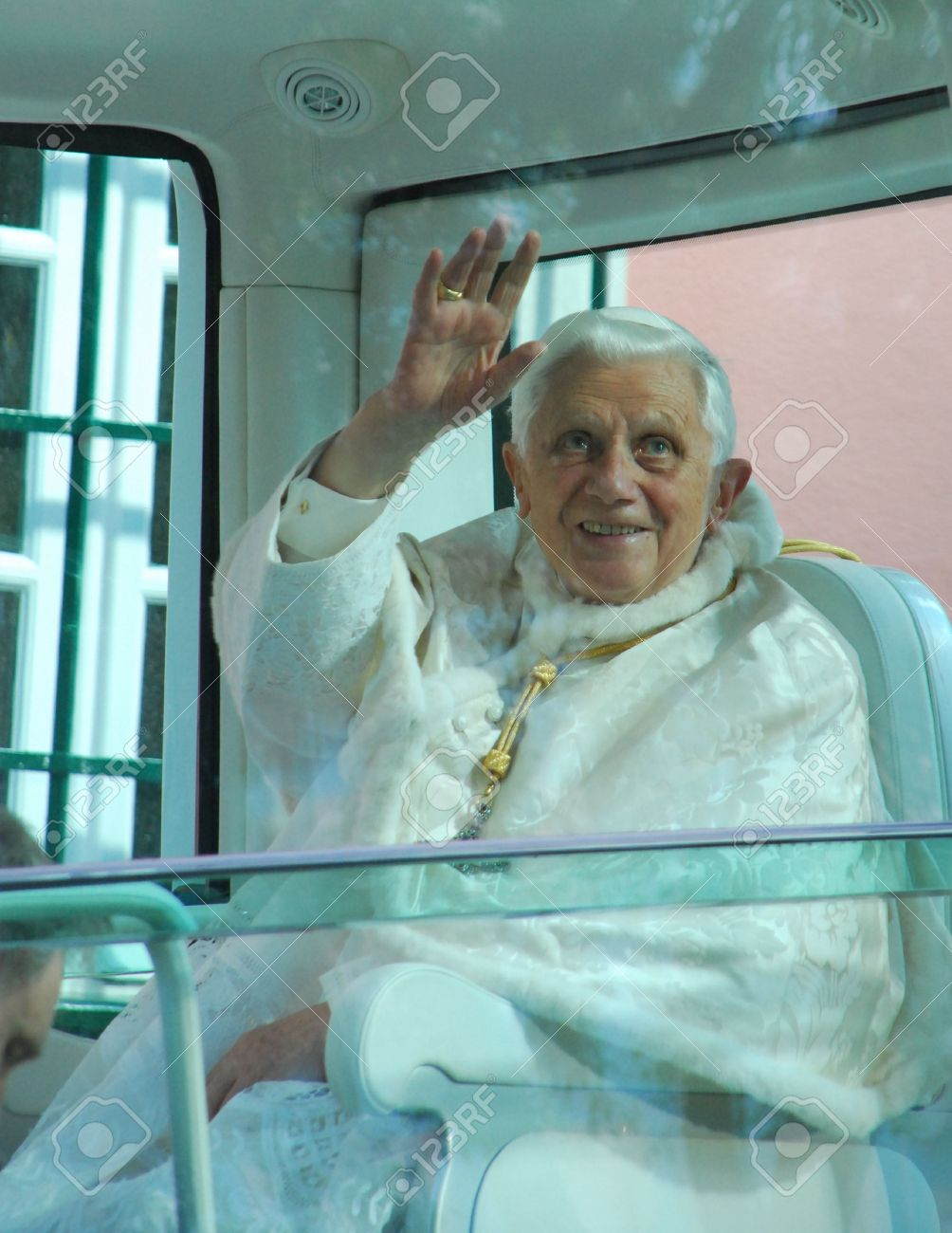 LISBON - MAY 11: 2010 Pope Benedict XVI, born Joseph Alois Ratzinger is the 265th and reigning Pope, he succeeded Pope John Paul II on May 11, 2010 in LISBON, PORTUGAL.