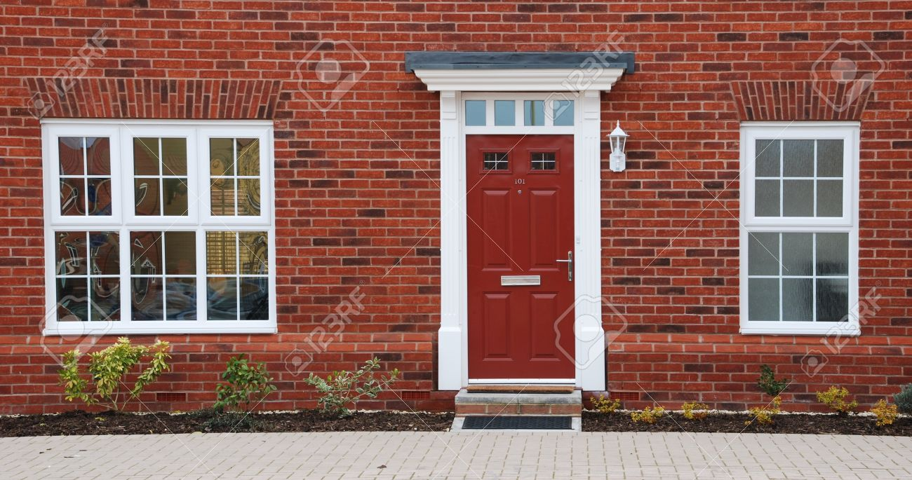 close-up of a typical british residential house with small entrance garden Stock Photo - 7185545