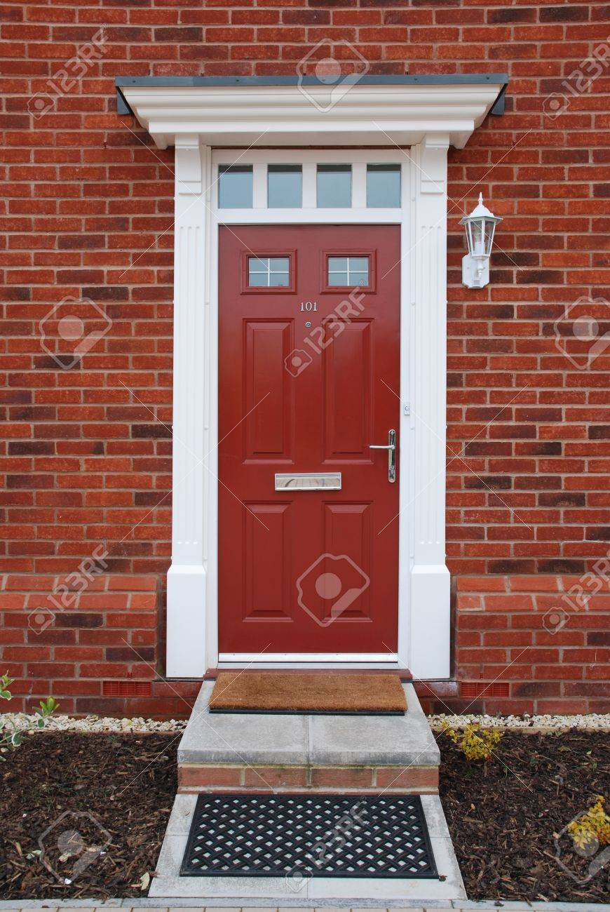 Stock photo entrance of a typical british residential house with small entrance garden