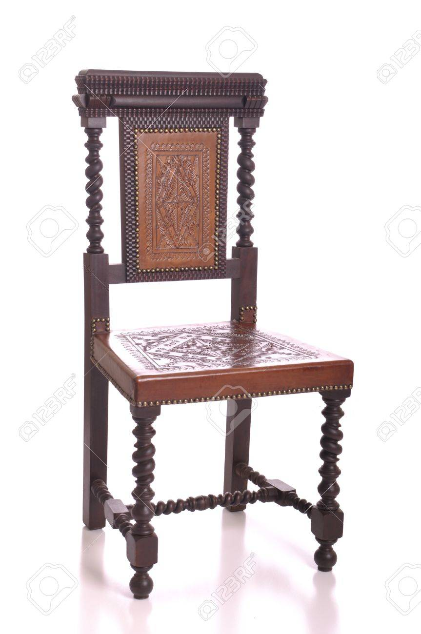 Antique Black Wood Chair With Leather Seat Isolated On White Background  Stock Photo   7508098