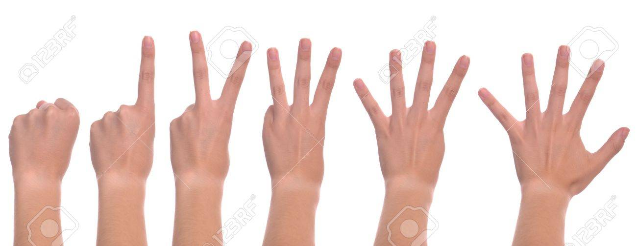 set of front woman hands counting from zero to five (isolated on white background) Stock Photo - 7529610