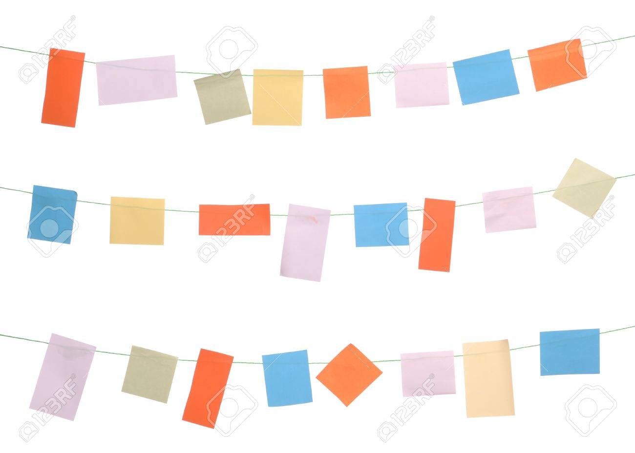 Hanging Pictures On Wire set of colored sticky notes hanging on wire (isolated on white