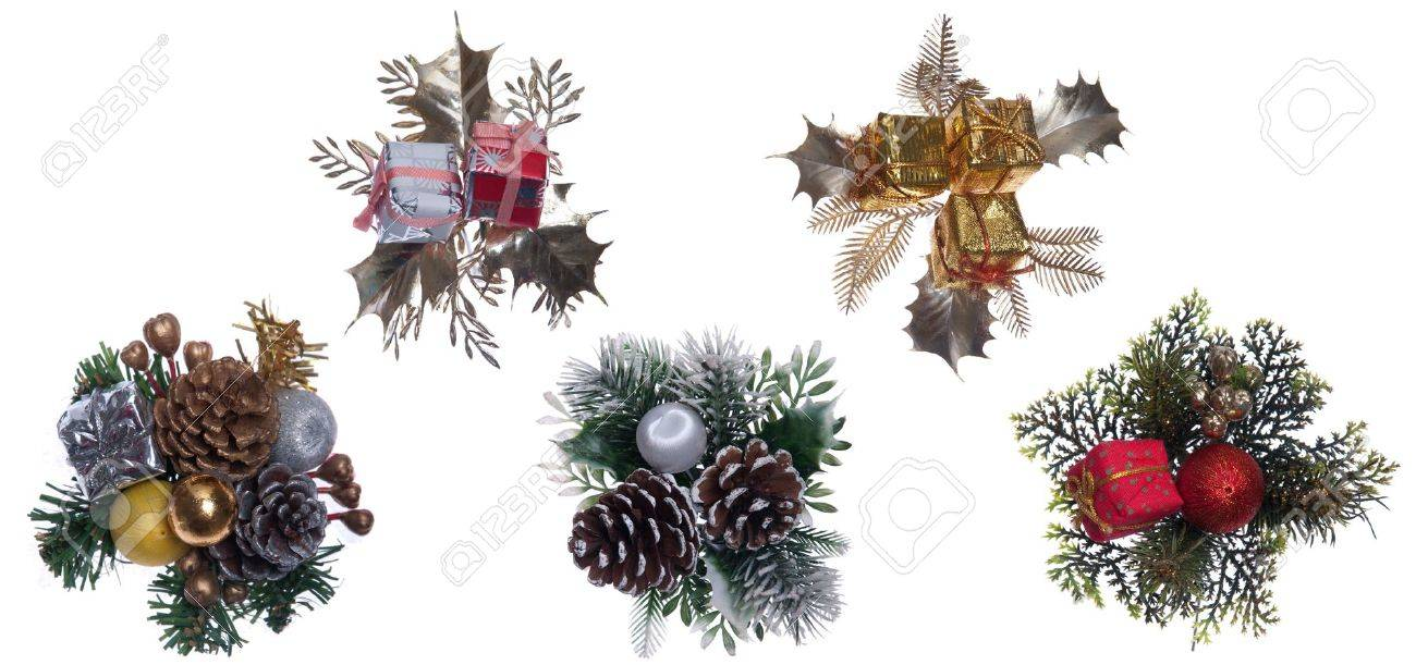 beautiful collection of Christmas decorations isolated on white background Stock Photo - 8355351