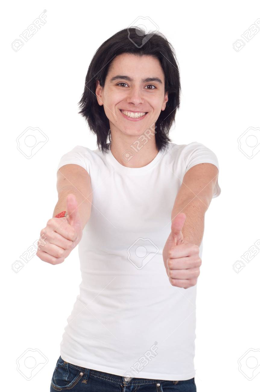 smiling casual woman with thumbs up on an isolated white background Stock Photo - 9255546