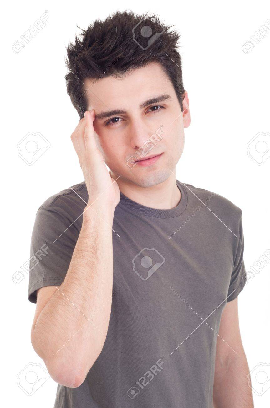 young casual man having headache isolated on white background Stock Photo - 9296998