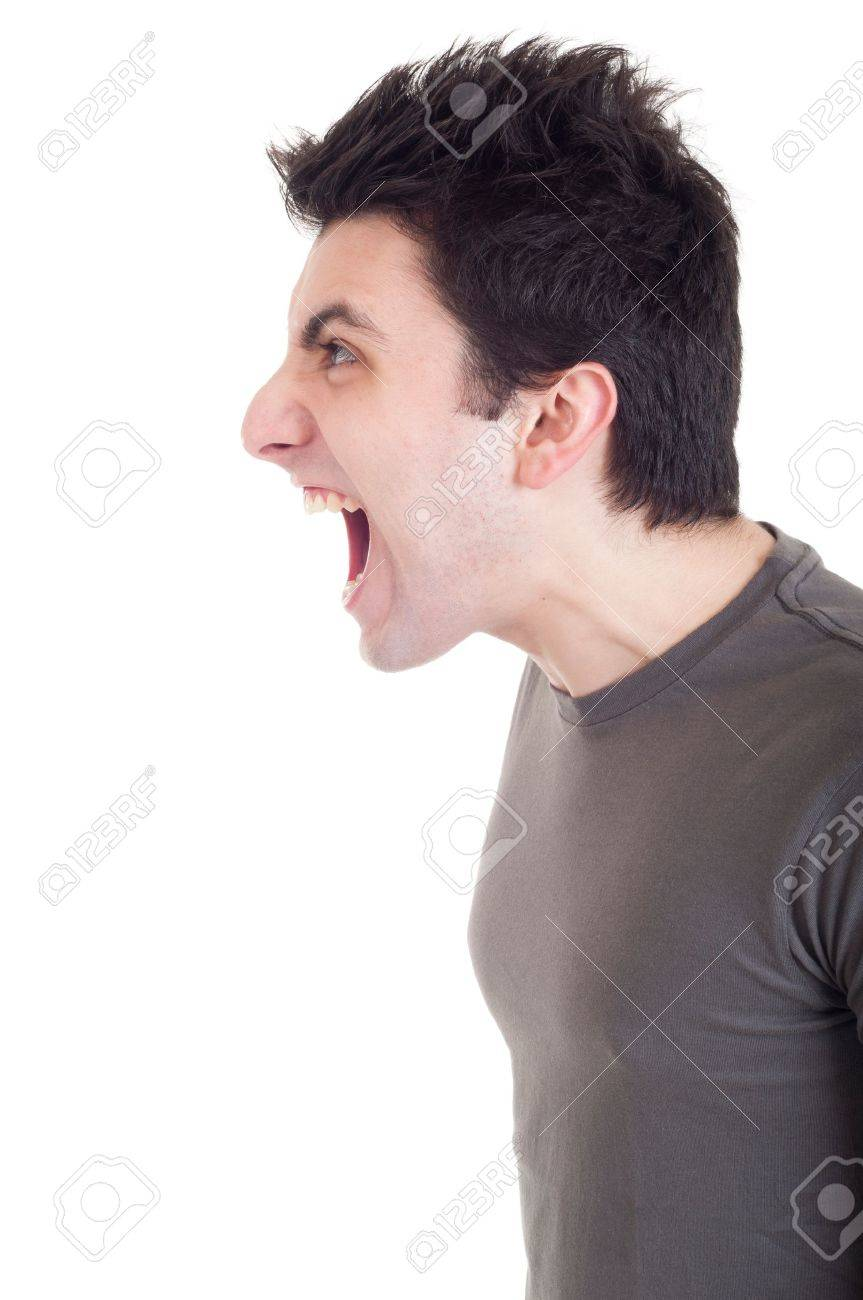 profile view of a very angry man screaming isolated on white background Stock Photo - 9304643
