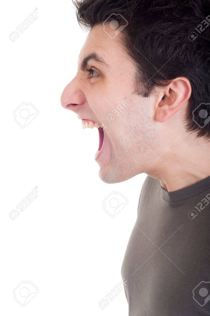 profile view of a very angry man screaming isolated on white background Stock Photo - 9304647