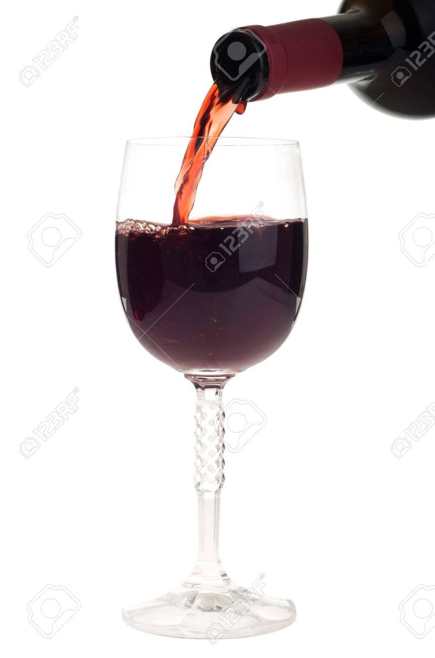 bottle pouring red wine into a crystal glass (isolated on white background) Stock Photo - 9492280