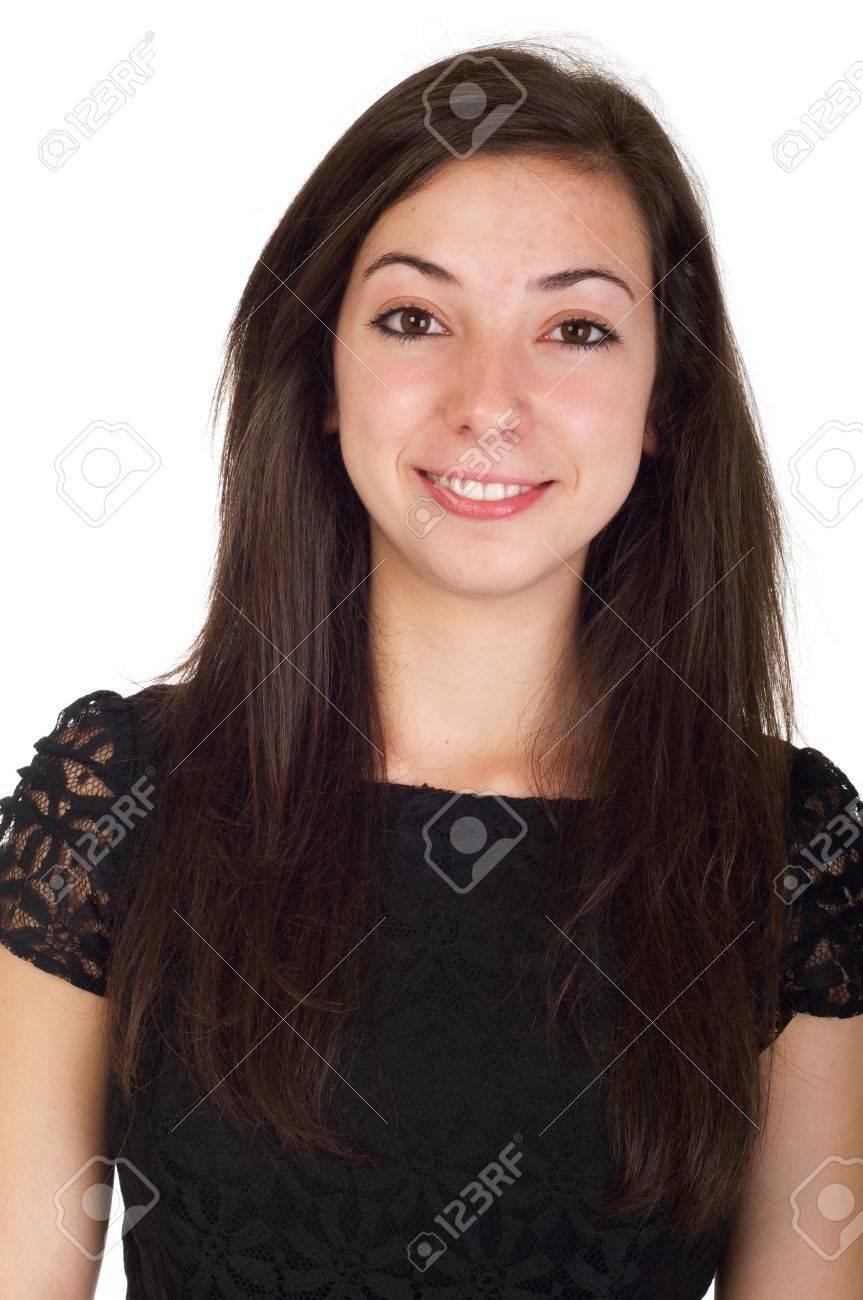 c7b7a87b79 Donna giovane sorridente 18 anni di età in abito nero e pronto per la notte  fuori (isolato su sfondo bianco)