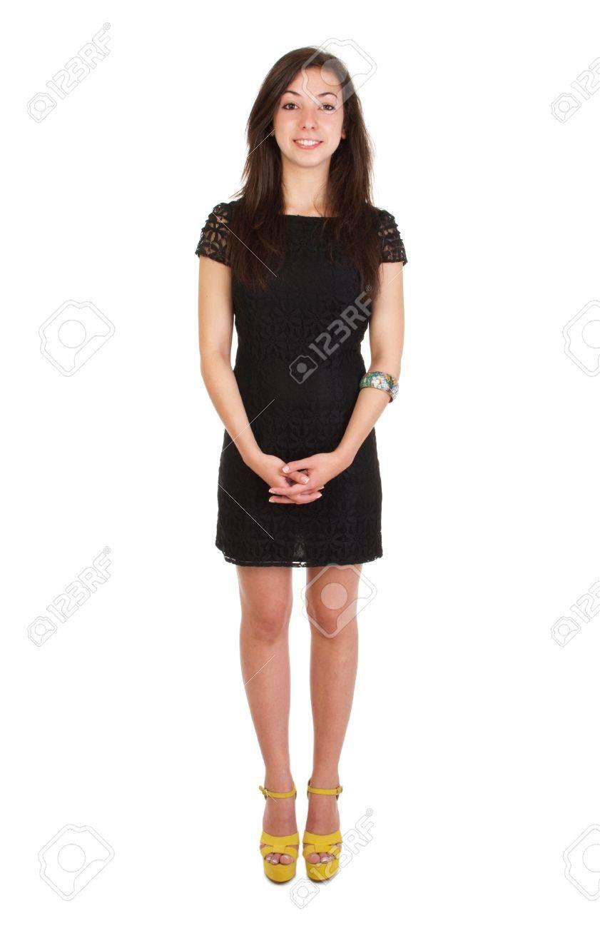 7fa61b2c2b Lunghezza 18 anni di età giovane donna in abito nero pronto per la notte  fuori (isolato su sfondo bianco)