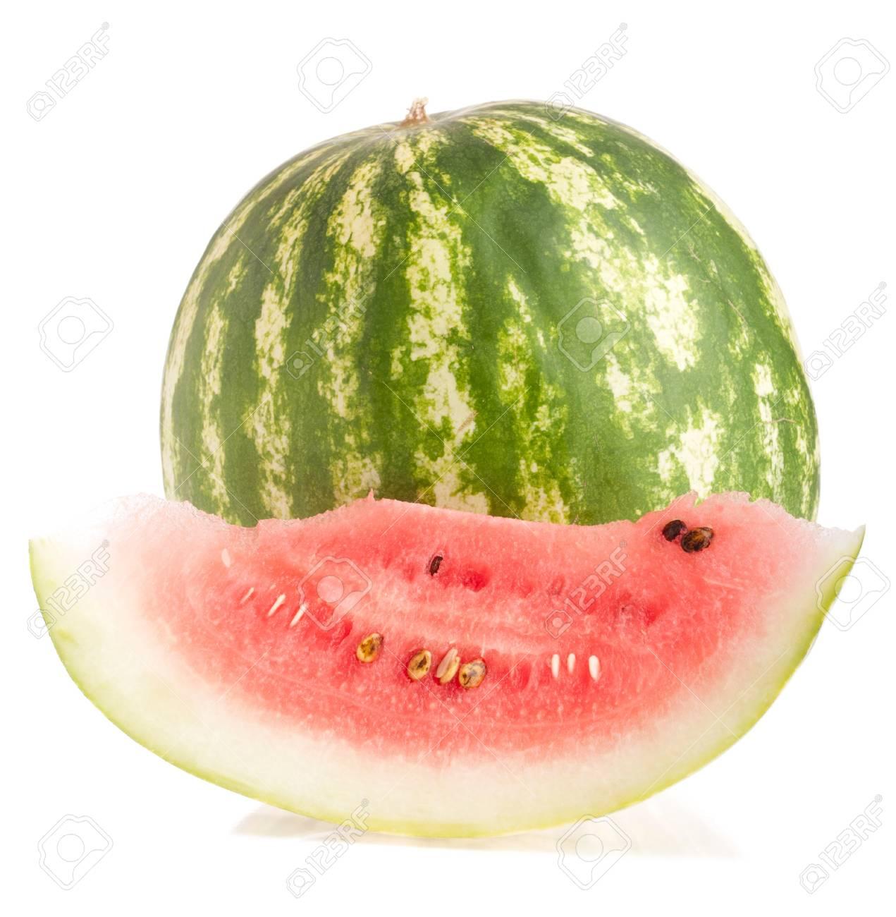whole and slice watermelon fruit (isolated on white background) Stock Photo - 9966742