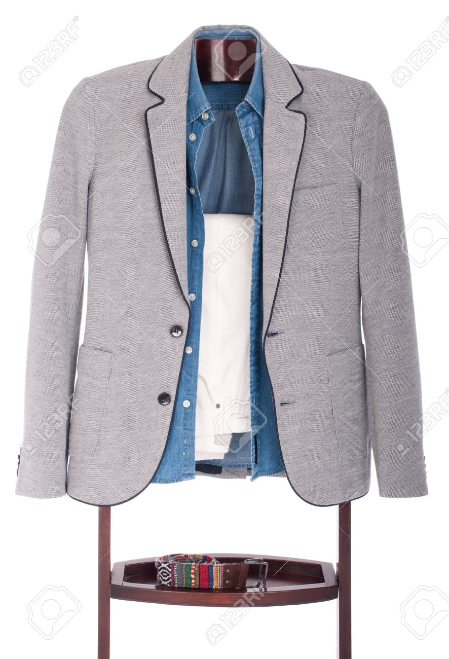 smart casual man dressing for a celebration, event, wedding or night-out on a wooden hanger (shirt, jacket, trousers and belt) isolated on white background Stock Photo - 9966752